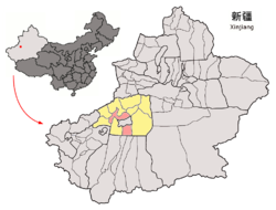 Location of Aksu City (pink) in Aksu Prefecture and Xinjiang