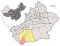 Location of Hotan County within Xinjiang (China).png