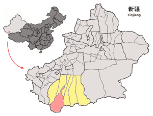Hotan County - Image: Location of Hotan County within Xinjiang (China)