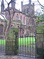Locked gate and the cathedral - geograph.org.uk - 659756.jpg