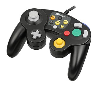 SONIFI Solutions - The LodgeNet GameCube controller.  Hooked up to TVs in hotel rooms, it allowed patrons to pay to play Nintendo GameCube games for limited time.