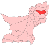 Map of Balochistan with Loralai District highlighted