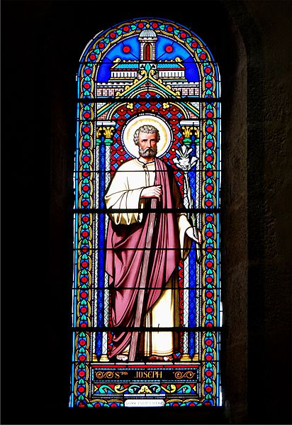 St. Alban Church, Lormes, Nièvre, France. Stained glass window depicting St. Joseph.