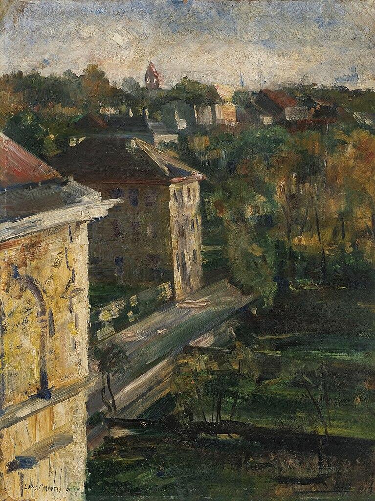Lovis Corinth. View from the studio, Schwabing.1891. oil on cardboard