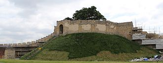 Lincoln Castle - The Lucy Tower in 2013, at which point the castle was undergoing a programme of renovation.