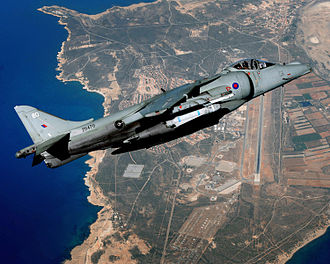 British Aerospace Harrier II - RAF Harrier II flying above RAF Akrotiri, Cyprus, 2010