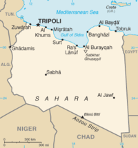 Location of Tripoli within Libya, on the continent of Africa.