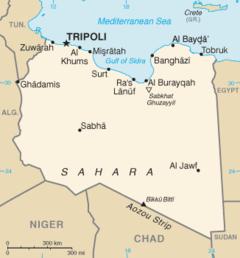 Tobruk is on the Mediterranean Sea in northeastern Libya.