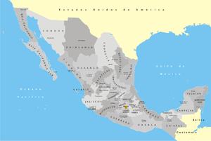 Federation of Mexican Athletics Associations - Image: México División Política con nombres