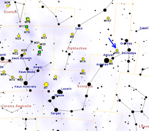 Messier 80 - Map showing the location of M80