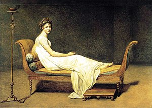 Jacques-Louis David's portrait of Madame Récamier.  In Creatures in an Alphabet, Barnes wrote:  The Seal, she lounges like a bride, Much too docile, there's no doubt; Madame Récamier, on side, (if such she has), and bottom out.