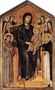 Madonna Enthroned with the Child St Francis St Domenico and two Angels, Cimabue