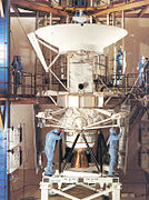 Magellan and its Inertial Upper Stage undergoing final checks at the Kennedy Space Center
