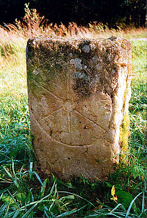 Elector of Mainz - Old boundary stone showing the Wheel of Mainz (Mainzer Rad), the coat of arms of the Electorate