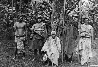 Ariki - Makea Karika Ariki (sitting) and nobles of the Makea Karika tribe, Rarotonga
