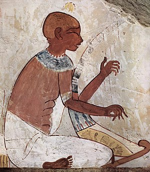 Blind musicians - A blind harpist, from a mural of the Eighteenth dynasty of Egypt, 15th century BC