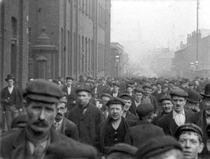 Oldham - Workmen leaving Platt's Works, Oldham, 1900
