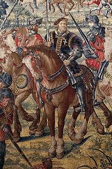 Manifattura fiamminga su dis.  di bernard van orley, arazzo con battaglia di pavia e cattura del re di francia, 1528-31 (capodimonte) 05 cavalli.jpg