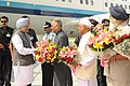 Manmohan Singh being received by the Governor of Punjab, Shri Shivraj Patil, the Governor of Haryana, Shri Jagannath Pahadia and the Chief Minister of Punjab, Shri Prakash Singh Badal, at Chandigarh airport.jpg
