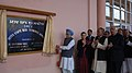 Manmohan Singh unveiling the plaque to inaugurate the Interstate Bus Terminus, at Kangla Fort in Imphal, Manipur on December 03, 2011. The Chairperson, National Advisory Council, Smt. Sonia Gandhi is also seen.jpg