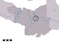 The town centre (dark green) and the statistical district (light green) of Spui in the municipality of Terneuzen.