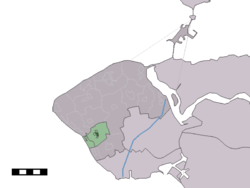 The town centre (dark green) and the statistical district (light green) of Biggekerke in the municipality of Veere.