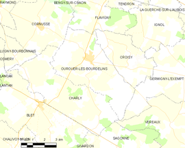Mapa obce Ourouer-les-Bourdelins