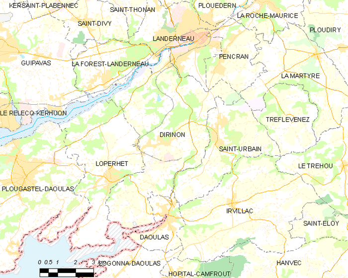 Map showing the location of Dirinon