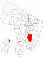 Map highlighting Teaneck's location within Bergen County. Inset: Bergen County's location within New Jersey.