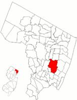Karte mit dem Standort von Teaneck im Bergen County.  Einschub: Standort von Bergen County in New Jersey.