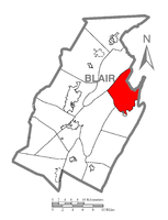 Map of Blair County, Pennsylvania highlighting Catharine Township