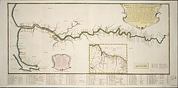 The Demerara colony in 1759 (Note this map has East at its top.) See here for its exact location (6° 48' N 58° 10' W).