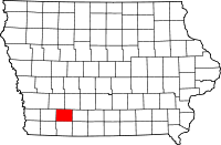 Map of Iowa highlighting Adams County