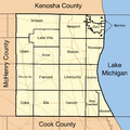 Map of Lake County Illinois showing townships.png
