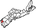 Map of Nova Scotia showing former electoral district of Clare.png