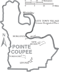 Map of Pointe Coupee Parish Louisiana With Municipal Labels.PNG