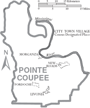 Pointe Coupee Parish, Louisiana - Map of Pointe Coupee Parish, Louisiana With Municipal Labels