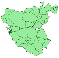 Location of San Fernando within the province of Cadiz