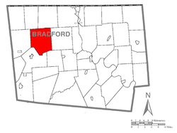 Map of Bradford County with Springfield Township highlighted