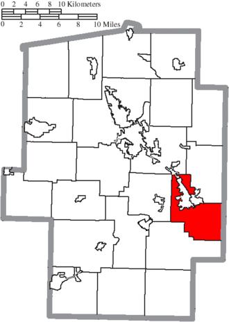 Mill Township, Tuscarawas County, Ohio - Image: Map of Tuscarawas County Ohio Highlighting Mill Township