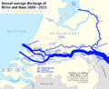 Map of the annual average discharge of Rhine and Maas 2000-2011 (EN).png