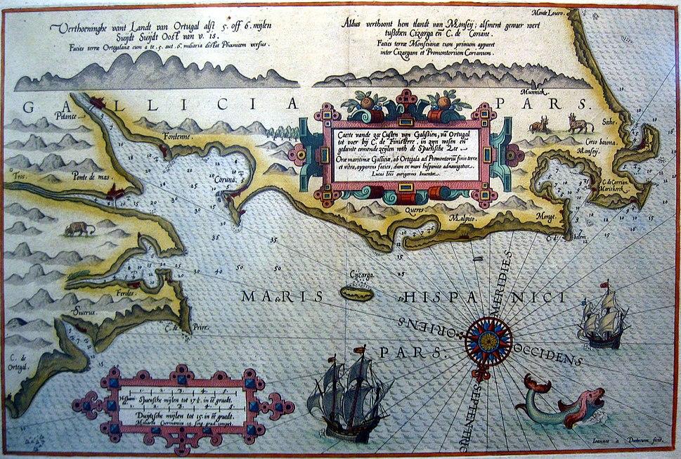 Mapa - Mapa de Galicia por Lucas Jansz Waghenaer - Caerte vande zee Custen van Galissien, van Ortugal tot voer biki C. de Finisterre - 1586