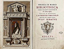 frontispiece and title page from eighteenth-century catalogue of Greek codices