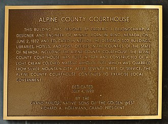 Markleeville, California - Plaque at the County Courthouse