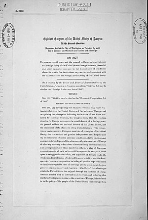 Marshall Plan - First page of the Marshall Plan