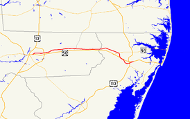 A map of the northern part of the lower Eastern Shore of Maryland showing major roads.  Maryland Route 346 runs from Salisbury east to Berlin.
