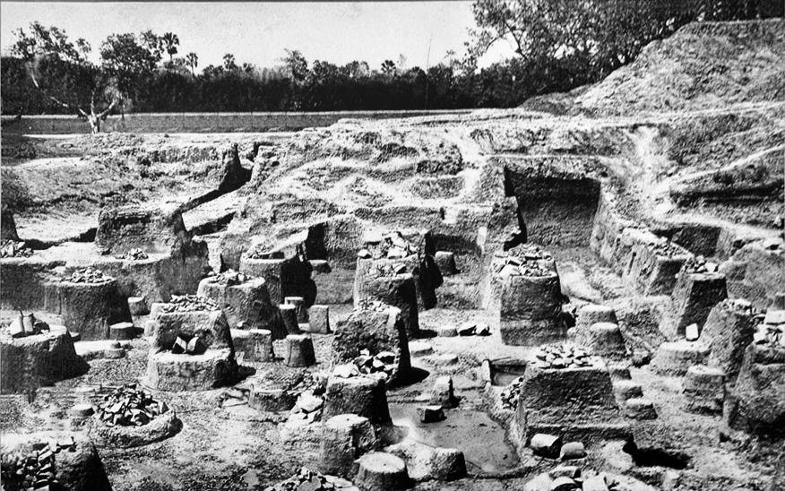 Mauryan ruins of pillared hall at Kumrahar site of Pataliputra ASIEC 1912-13