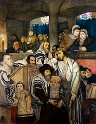 מאוריצי גוטליב: יהודים מתפללים בבית הכנסת ביום הכיפורים