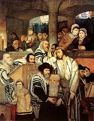 Maurycy Gottlieb: Jews Praying in the Synagogue on Yom Kippur