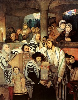 Maurycy Gottlieb - Jews Praying in the Synagogue on Yom Kippur